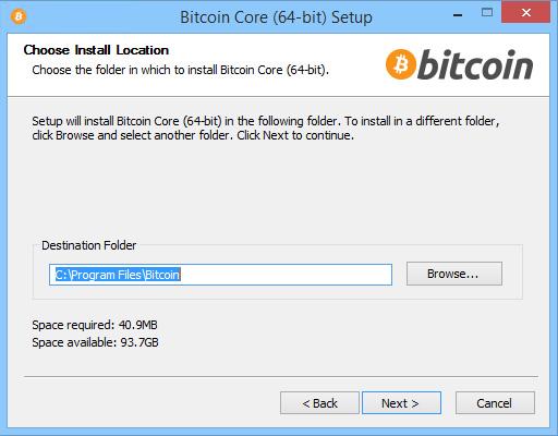 Bitcoin Core Installation Wizard - Choosing Installation Folder