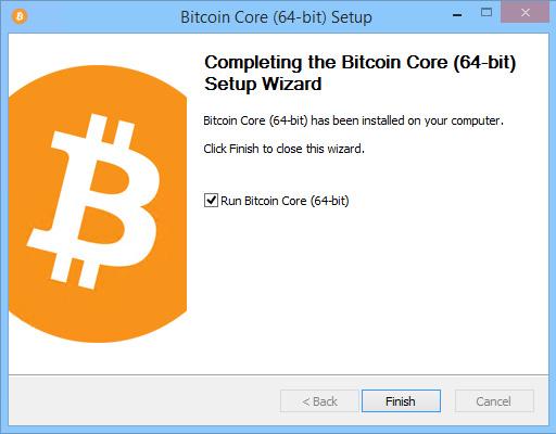 Bitcoin Core Installation Wizard - Finish Screen
