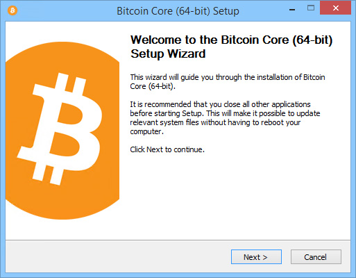 Bitcoin Core Installation Wizard - Initial Screen