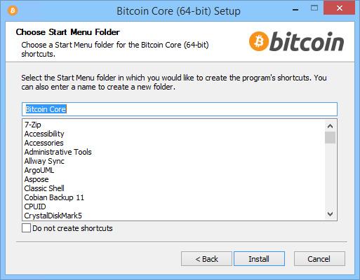 Bitcoin Core Installation Wizard - Choosing Start Menu Folder